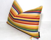 Colorful Striped Pillow Cover, Modern Outdoor Decor, Decorative Throw Pillow Case, Yellow Stripes, Green Red Orange Sunbrella Cushion Cover
