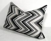 Black White Chevron Pillow Cover, Decorative Grey Outdoor Throw Pillow Case, Modern Gray Geometric Cushion Cover, Sunbrella Accent Pillow