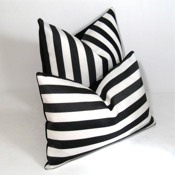 Black And White Stripe Outdoor Throw Pillows : Black White Outdoor Pillow Cover Decorative Striped by Mazizmuse