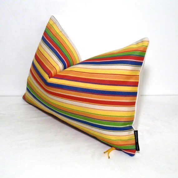Colorful Pillow Cover Decorative Yellow Striped Red by Mazizmuse