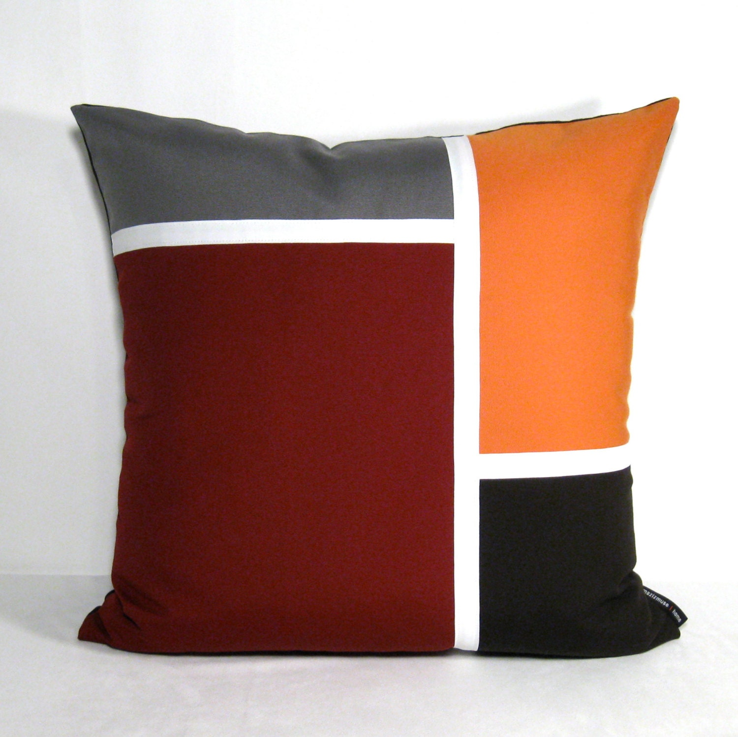 Burgundy Color Decorative Pillows : Decorative Color Block Pillow Cover Burgundy Outdoor by Mazizmuse