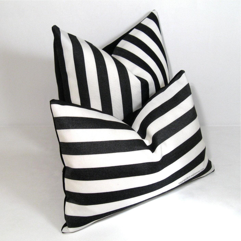 Black And White Striped Throw Pillows : Black White Outdoor Pillow Cover Decorative Striped Pillow