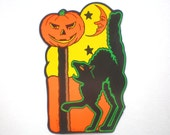 Vintage BEISTLE HALLOWEEN BLACK Cat w/ Jack-O-Lantern on Post Die Cut - Late 1980s / Early 1990s Reproduction of a 1930s Original