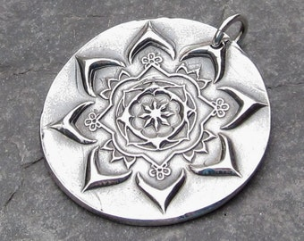 Pendant Fine Silver Charm PMC Focal with Sterling Silver Jump Ring -Laird Flower-