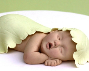 Baby Shower Sugar Paste Cake Topper with Pale Green Leaf by lil sculpture