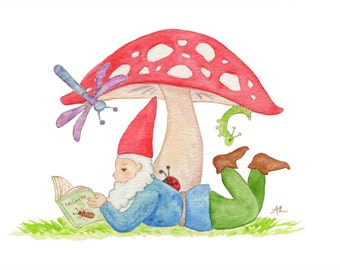 """Gnome with Insect Book 5x7"""" PRINT"""