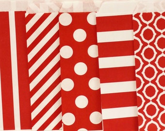 Paper Bags, 24 Red Assorted Favor Bags, Red Paper Bags, Favor Bags, Treat Bags, Candy Bags, Cookie Bags, Wedding Candy Bags,  Paper Sack