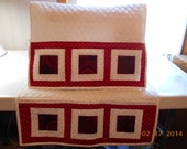 Sewing Machine Cover Red/White Patchwork Quilted Handmade Sewing Mat Pockets Accessory