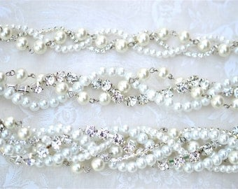 Bridesmaid Necklace, Pearl, Rhinestone and Ribbon Color Your Choice, Swarovski Junior Bridesmaid Wedding Jewelry White Pearls with Silver