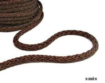 Acetino braided silk cord, 6mm, brown, / 2 meters