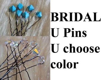 Swarovski Bridal Crystal U pins U choose color Hair accessories, Hair pins, bobby pins Bling Hair style Bridal, bridesmaids, mob, prom