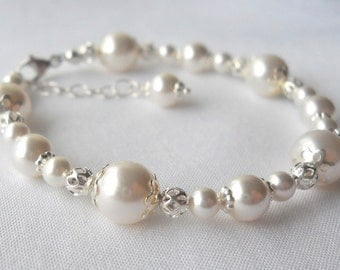 Flower Girl First Communion Baptism Sterling and Swarovski Pearl Baby Child Bracelet B239