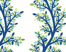 Modern Bloom from In The Beginning Fabric 2BLM2 Blue Green Vines Leaves Tree on White