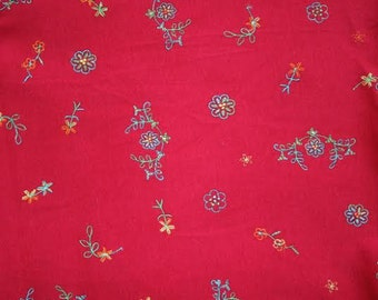 Cherry Red Pink KNIT Fabric Embroidered Floral Flowers Medium Weight 60 Inches Wide