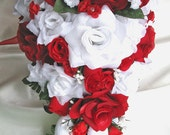Wedding Bouquet Bridal Silk flower Decoration 21 pieces Package RED WITE CASCADE Free shipping centerpieces RosesandDreams