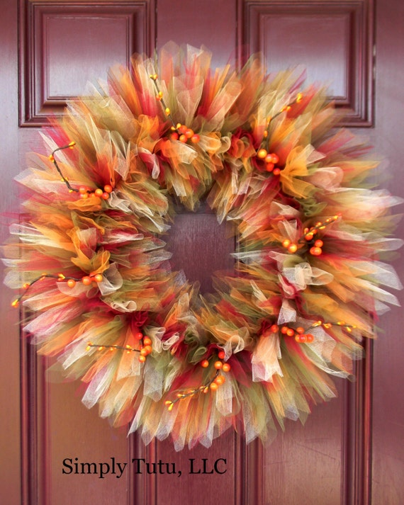 Rich Autumn Tulle Wreath