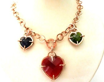 Glamour necklace dangling crystal three hearts - high fashion Italian - rose gold and big hearts- vintage high quality -art.980/2-