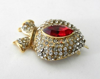 Very Beautiful clasp for jewelry - 1970 vintage Italian  -pave white crystals and  Navette Crystal Red Siam  -Art. 996/2 -