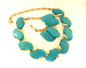 Lisner Thermoset Choker Necklace and Earrings Set - 1953 Vintage Lisner Copyright -beautiful stylized waves  turquoise color - Art.559 -