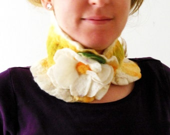 felted white flower eco friendly collar scarf