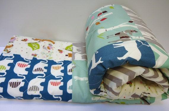 Baby boy quilt organic retro birch fabric modern baby for Retro baby fabric