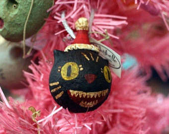 Toothy Smile Black Cat Ornament