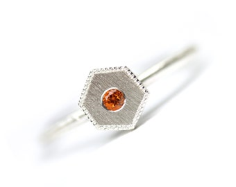 Honeycomb Citrine Silver Ring Geometric Modern Orange November Birthstone Hexagon Delicate Minimalistic Stackable Milgrain Edge - Golden Geo