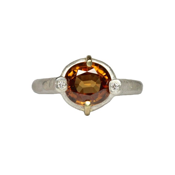 Brown Zircon Silver Gold Engagement Diamond Ring - Amber Queen