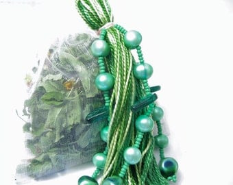Mint Room Freshener Potpourri with Green Pearl Beaded Tassel
