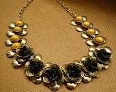 Bohemian Choker Vintage Steampunk Antique Metal Beaded Flower Necklace