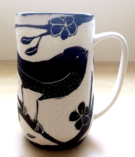 Porcelain Hand Carved Mug with Black Bird