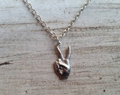 Tiny Peace Hand Charm Necklace