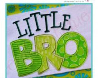 Little Bro Applique- Instant Email Delivery Download Machine embroidery design