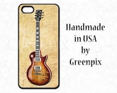 Guitar iPhone 6 case, Gibson Les Paul Flame Top, 4 4s 5 5s 5c, cell phone cover for musician, gift idea for guitarist, greenpix, made in USA