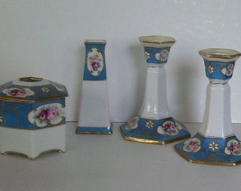 Antique 4 Pc. Hand Painted Morimura Nippon Porcelain Candle Holders, Hat Pin Holder, Hair Reciever,Moriage Bros., Bed and Breakfast