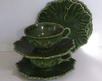 6 Pc. Set Woodfield Mfg by Steubenville Pottery Dark Green 2 Tea Cups, 2 Saucers, 2 Desserts Dishes, Leaf Pattern, Matching Serving Set