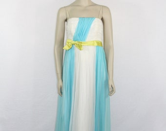 SALE......Evening Gown - 1950's Vintage Dress - Turquoise Blue and White Flowing Chiffon - Grecian Goddess Long Dress - 36 / 32 / full