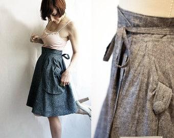 Grey Eco wrap skirt - Hemp & organic cotton denim / Custom sizing and colours available