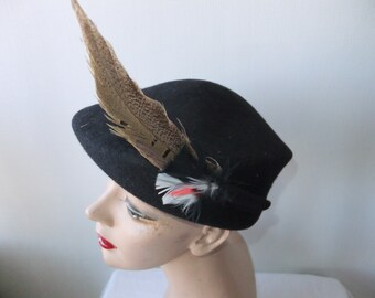 Vintage Hat Black Wool with Long Feather and Small Feather Lancaster USA Designer