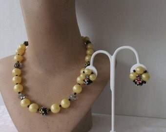 Vintage Necklace and Clip On Earring Set Off White Pearly and Black Plastic Beads Costume Jewelry Gold Tone