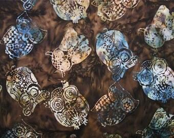 Timeless Treasures Tonga Owls Brown Batik Fabric Yard