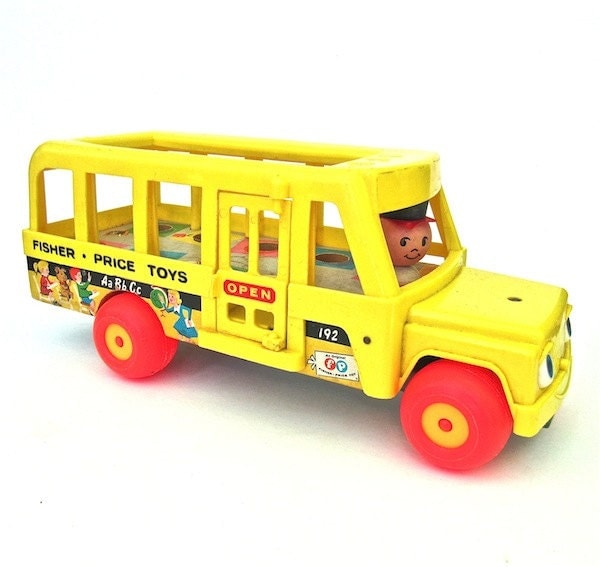 fisher price little people school bus 1960s toy by. Black Bedroom Furniture Sets. Home Design Ideas