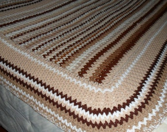 New(Ready to Ship) Crocheted  Afghan  - Blanket - Throw -  Coverlet   ''SANDSTONE''   in Tans and Creams