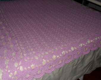 New(Ready to Ship) Crocheted Afghan - Blanket - Throw -  Coverlet - Bedspread - XLarge  ''SHELLS GALORE''  in Lilac