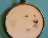 Great Pyrenees - Pyrenean Mountain Dog Original Pencil Drawing Pendant with Organza Pouch -Choice of Necklaces -Free Shipping