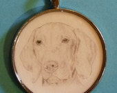 Vizsla Original Pencil Drawing Pendant with Organza Pouch -Choice of Necklaces -Free Shipping- Desert Impressions