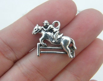 BULK 30 Horse show jumping charms antique silver tone A562