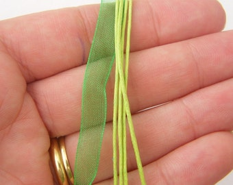 """5 Mixed green ribbon voile necklace 46cm 18"""""""