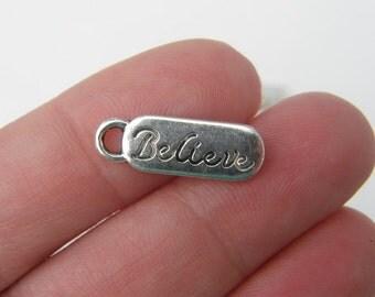 BULK 50 Believe pendants antique silver tone M271