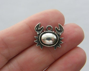 8 Crab charms antique silver tone FF99